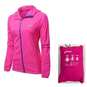 Women's Asics Pink Packable Waterproof Jacket M